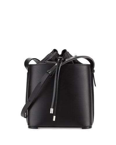 Hana Leather Drawstring Bucket Bag, Black