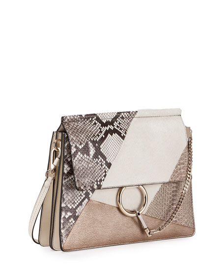 Faye Medium Python/Calf-Hair Patchwork Shoulder Bag, Off White