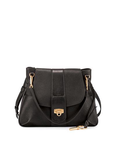 Lexa Medium Shoulder Bag, Black