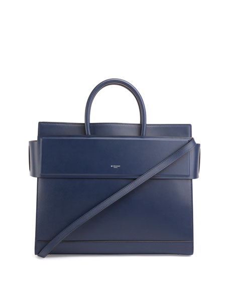 Givenchy Horizon Medium Leather Satchel Bag, Navy