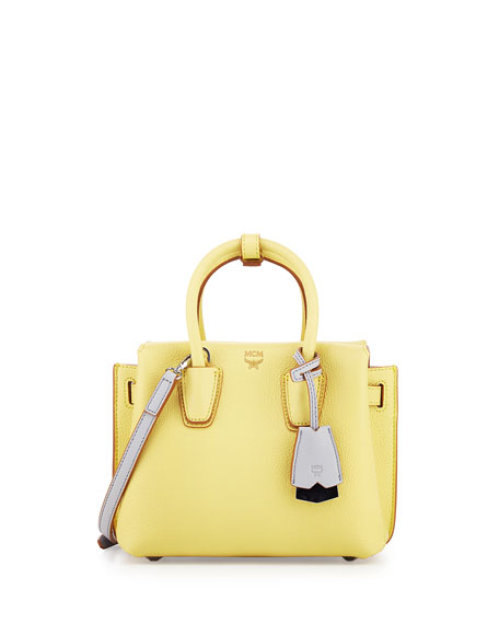 MCM Milla Mini Leather Tote Bag, Yellow