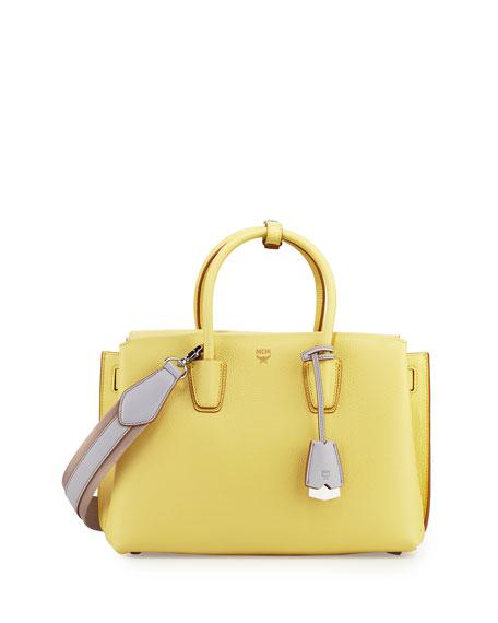 MCM Milla Medium Leather Tote Bag, Yellow