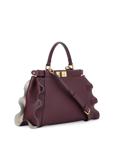 Peekaboo Medium Wave Leather Satchel Bag, Bordeaux