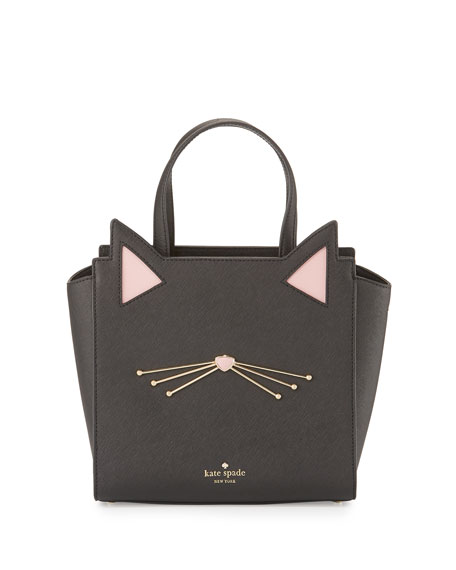 jazz things up hayden small cat tote bag, black