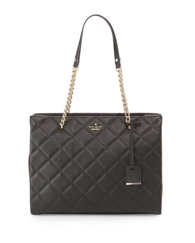 emerson place phoebe quilted leather tote bag, black
