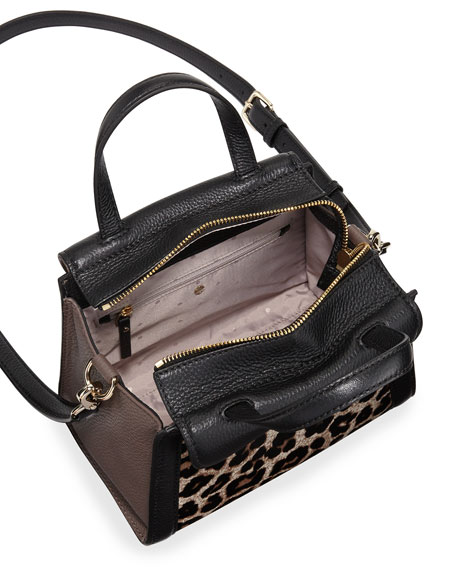 cobble hill adrien small calfhair satchel bag, leopard