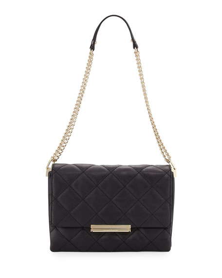 emerson place lenia quilted shoulder bag, black