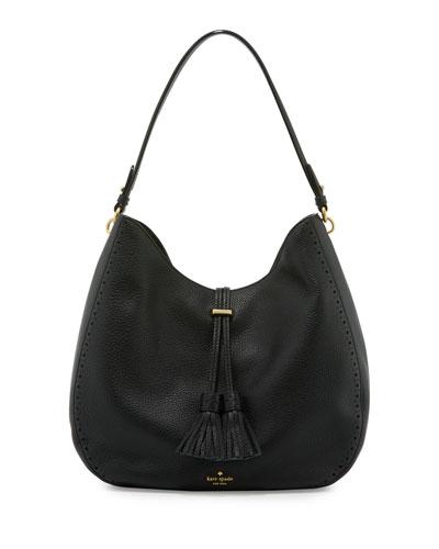 james street mason leather hobo bag, black
