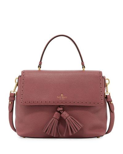 james street sparrow leather satchel bag, rich rum raisin