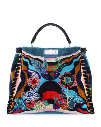 Peekaboo Large Embroidered Velvet Bag, Black Multi