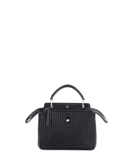 Fendi Dotcom Click Mini Quilted Crossbody Bag, Black