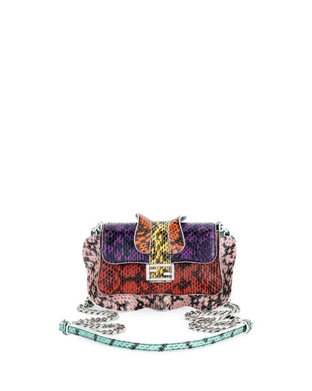 Fendi Baguette Micro Wave Crossbody Bag, Purple/Orange/Red/Yellow