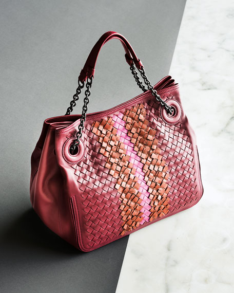 Intrecciato Chain-Handle Tote Bag