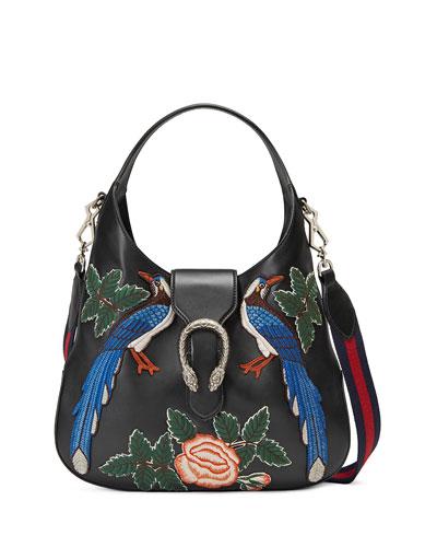 Dionysus Medium Embroidered-Birds Hobo Bag, Black/Multi