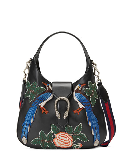 Gucci Dionysus Medium Embroidered-Birds Hobo Bag, Black/Multi
