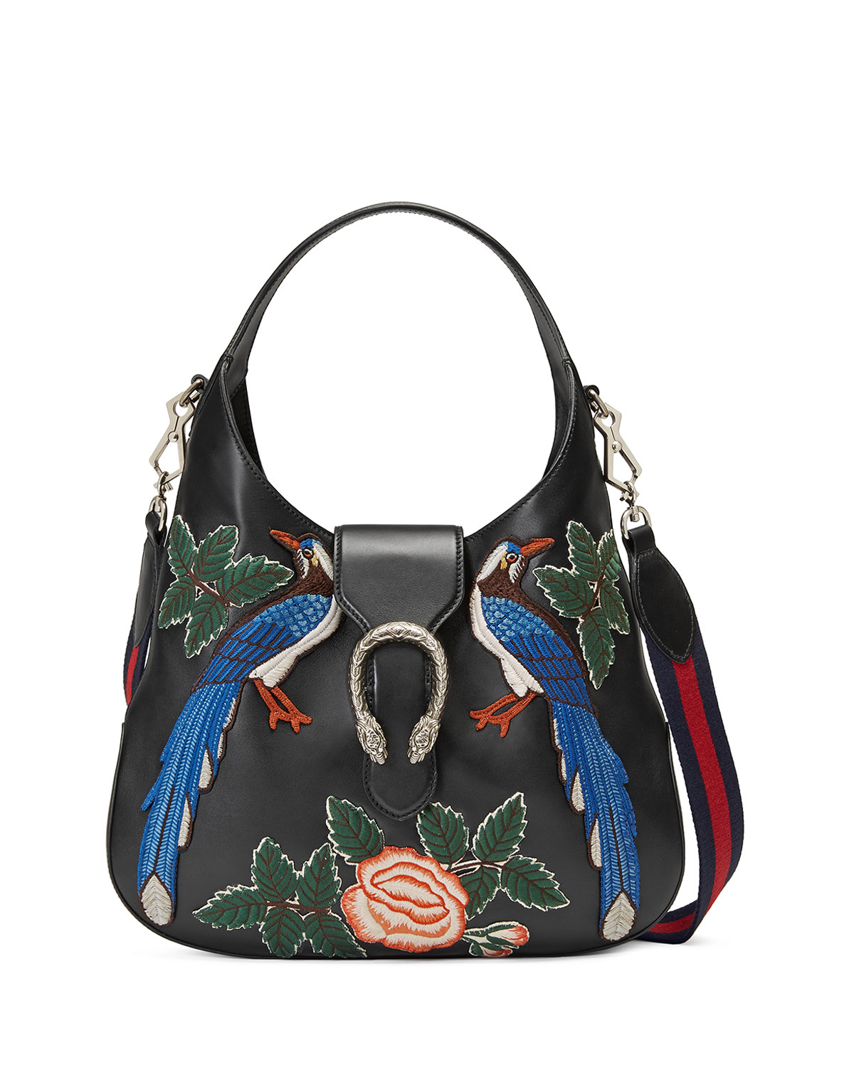 c46b20f9e800 Gucci Dionysus Medium Embroidered-Birds Hobo Bag, Black/Multi ...