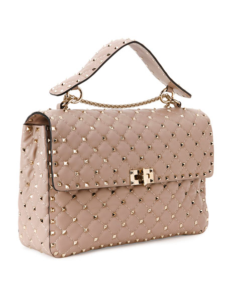 Rockstud Quilted Large Shoulder Bag, Beige
