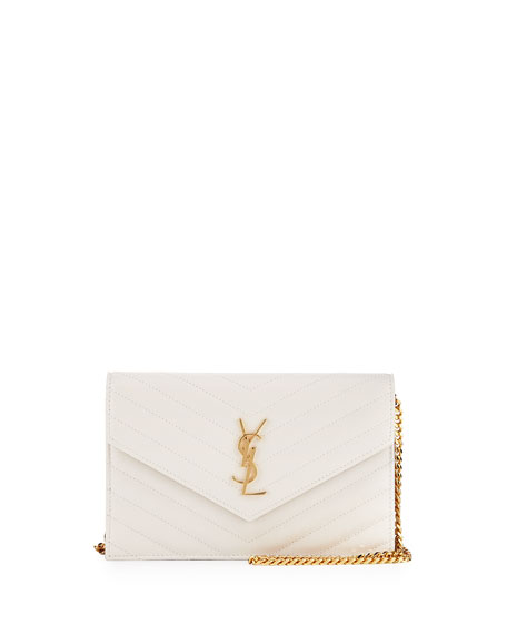 Saint Laurent Small V-Flap Monogram Wallet-On-A-Chain, White