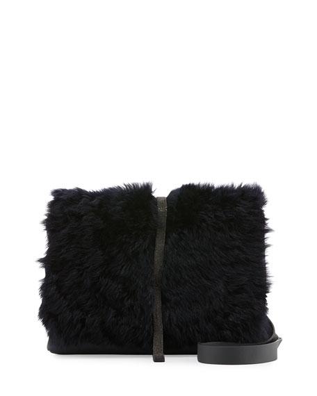 Brunello CucinelliMedium Shearling-Fur Monili City Bag, Dark Navy
