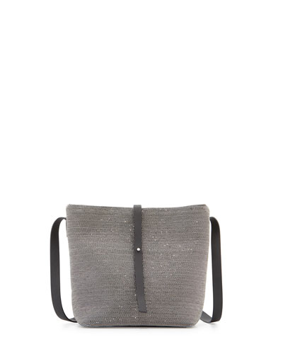 Medium Monili Bucket Bag, Ruthenium