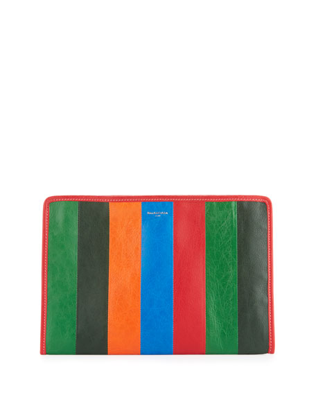 Balenciaga Bazar Striped Leather Pouch Bag, Multi (Multicolore)