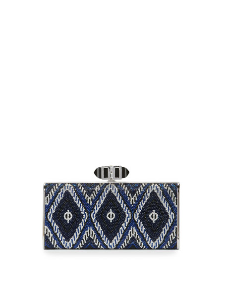 Judith Leiber Denpasar Crystal Evening Rectangle Clutch Bag, Dark Indigo/Multi