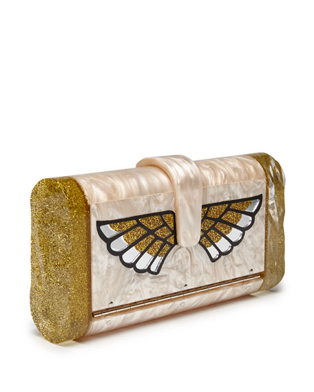 Lara Wings Acrylic Clutch Bag, Nude