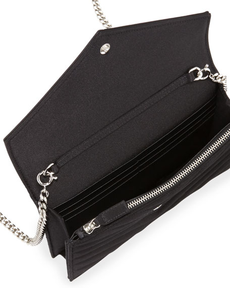 Monogram Satin Small Wallet-On-Chain Bag, Black