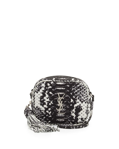 Monogram Blogger Python-Embossed Crossbody Bag, Black/White
