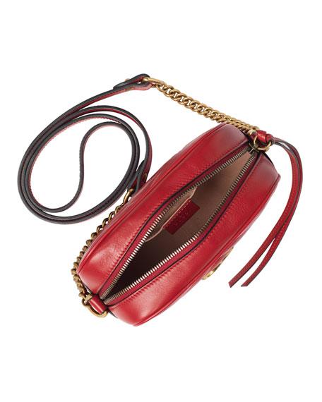 GG Marmont Mini Matelassé Camera Bag, Hibiscus Red