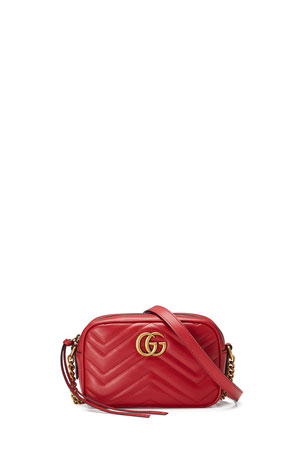 Gucci GG Marmont Mini Matelasse Camera Bag, Hibiscus Red