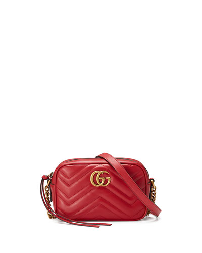 GG Marmont Mini Matelassé Camera Bag, Hibiscus Red