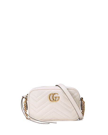 GG Marmont Mini Matelassé Camera Bag, White