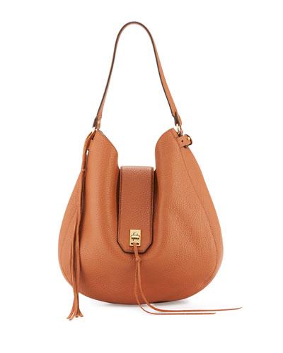 Darren Leather Hobo Bag, Almond