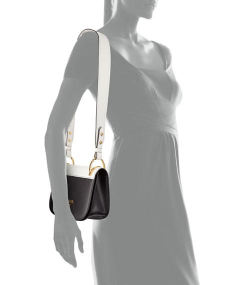 Pionnière Web-Strap Shoulder Bag, Black/White (Nero/Bianco)