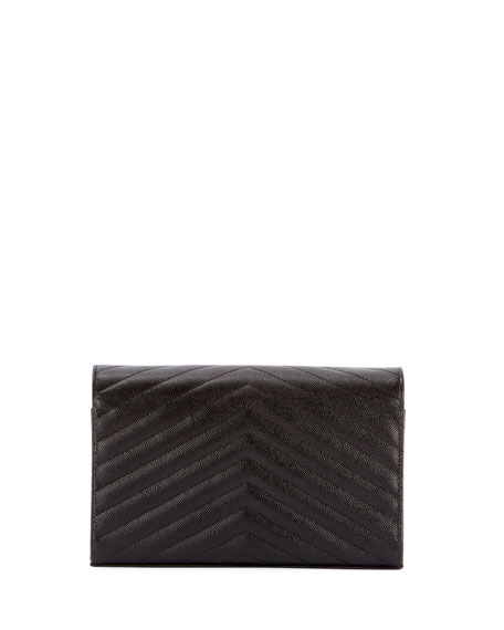 Monogram YSL Small Matelasse Envelope Chain Wallet, Black