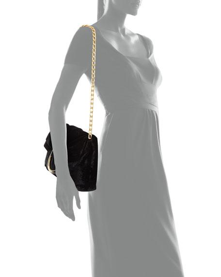 Nina Velvet Fold-Over Shoulder Bag, Navy