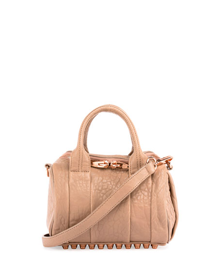 Alexander Wang Mini Rockie Leather Satchel Bag, Latte/Rose Gold