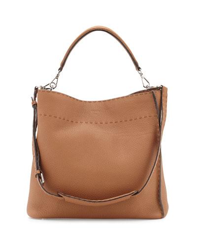 Large Bucket Hobo Bag, Camel