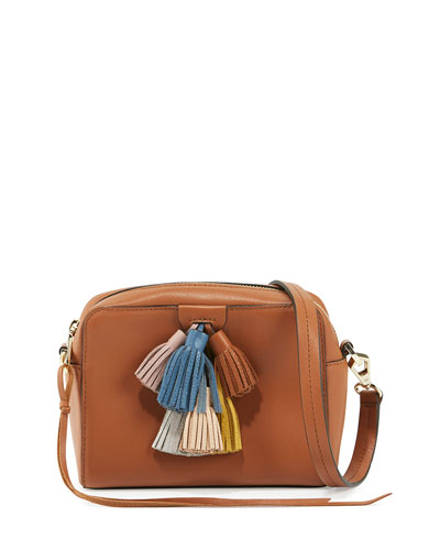 Sofia Leather Tassel Crossbody Bag, Almond/Multi