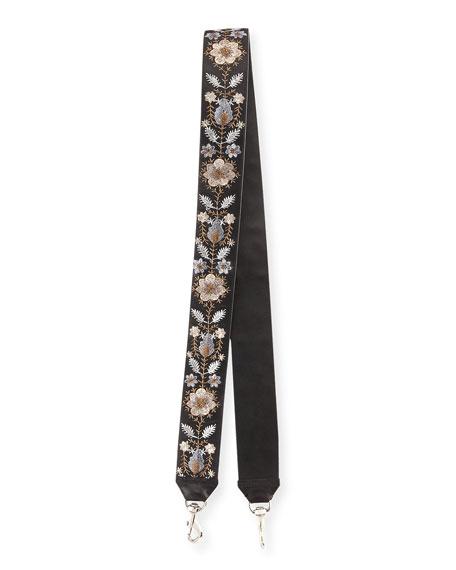 Metallic Floral-Embroidered Guitar Strap for Handbag