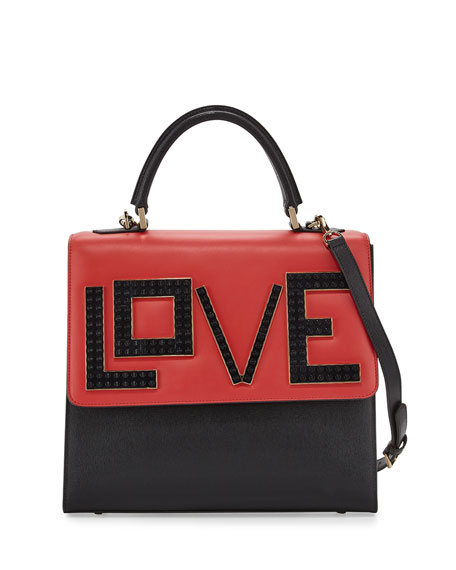 Alex Black Widow Top-Handle Bag, Black/Red/White