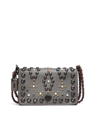 Dinky 24 Leather Crossbody Bag, Heather Gray
