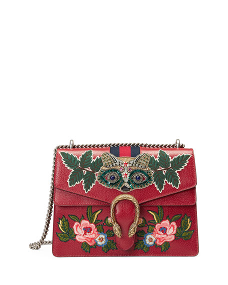 Gucci Dionysus Medium Raccoon-Embroidered Shoulder Bag, Red/Multi