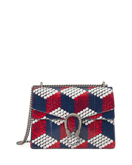 Gucci Dionysus Medium Cubic-Python Shoulder Bag, Red/White/Blue