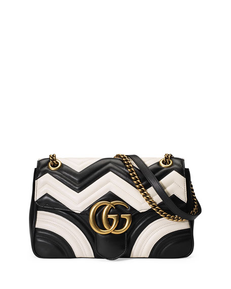 Gucci GG Marmont Chevron Shoulder Bag, Black/White