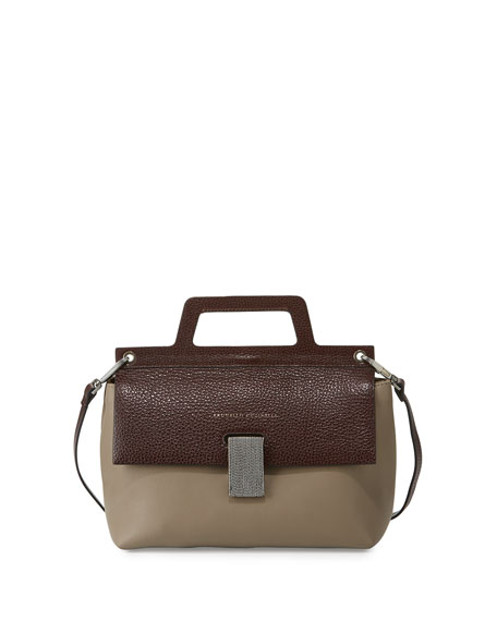 Brunello Cucinelli Kelly Small Satchel Bag, Brown/Bordeaux