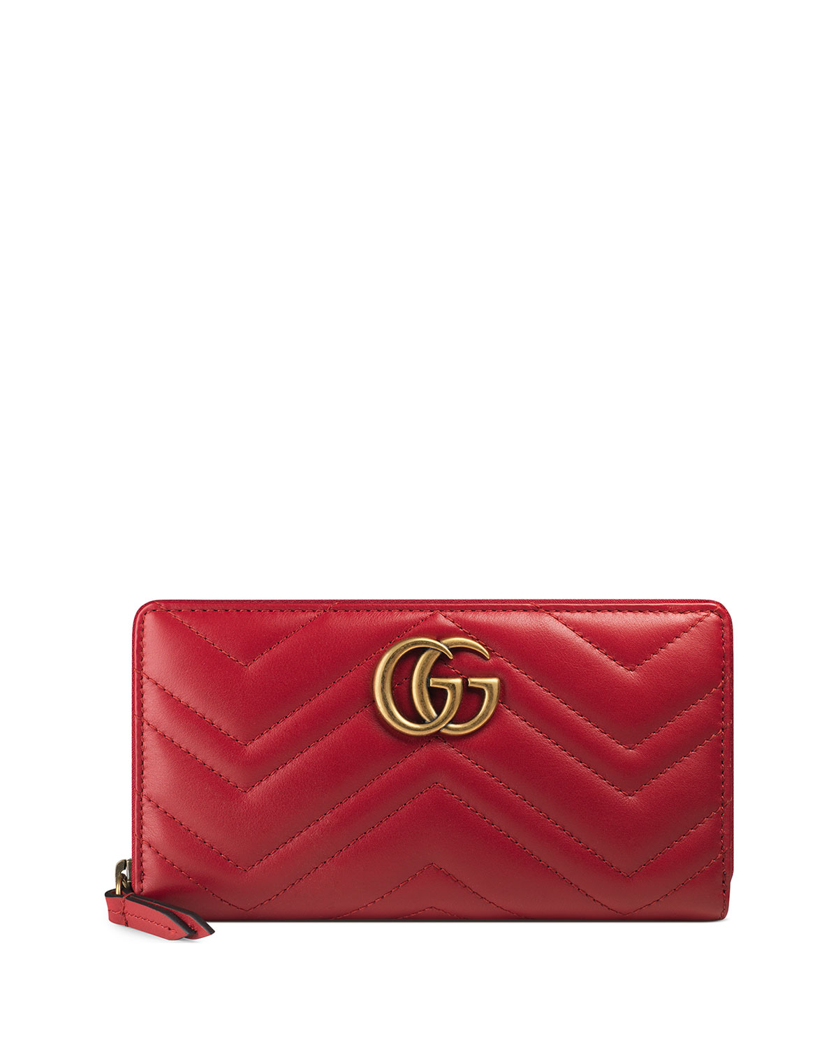 5525f1a64 Gucci GG Marmont Medium Quilted Zip Wallet, Red | Neiman Marcus