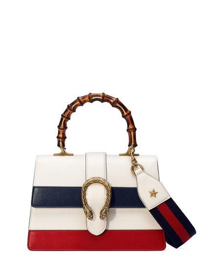 Small Dionysus Top Handle Leather Shoulder Bag - White, White/Blue/Red Leather