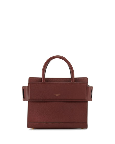 Givenchy Horizon Mini Leather Satchel Bag, Medium Brown